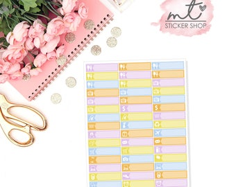 Kiss The Cook Little Things/Labels || Vertical || 47 Planner Stickers || Erin Condren Life Planner