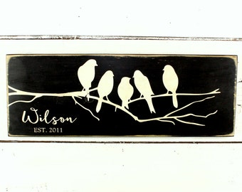 Birds on a Branch - Family Name Sign- Personalized Name Sign - Established Sign - Rustic Decor - Last Name Sign - Rustic Name Sign