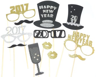 Photo Booth Props - Set of 12 Happy New Year Party Props