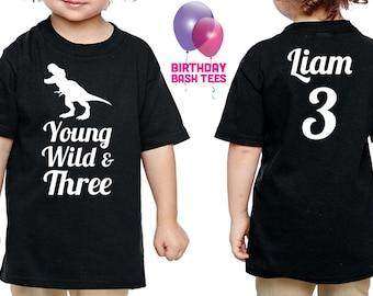 3 Year Old Dinosaur Birthday Shirt Young Wild & Three Dinosaur Birthday Shirt Niece Nephew Son Daughter 3 Birthday Gift Wild Three Dino