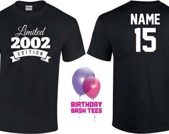 15 Year Old Birthday Shirt or Hoodie 2002 Kids Birthday Shirt Limited Edition 15th Birthday 15 Year Old Youth Celebration Shirt