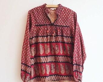 Vintage indian cotton hippie bohemian blouse top S/M