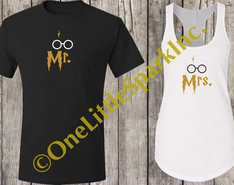 Harry potter wedding / harry potter matching couple / universal shirts / potter head shirt / Hogwarts shirt / muggle to mrs / potter shirt