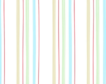 Butter Cream Aqua Stripe by Louise Anglicas Y1949-33 - green aqua coral thin stripes on white quilting cotton woven fabric