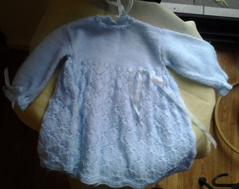 Pastel Blue Knitted Baby Nightie