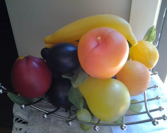 1970's plastic fruit in early 90's stainless steel Basket - 25% off