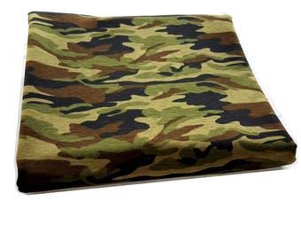Cotton knitwear jersey army camouflage pattern by the yard, kids fabric, Cotton jersey, Fabric, half yard, yard