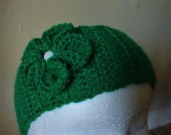flower headband, flower ear warmer, green ear warmer, green headband, crochet headband,