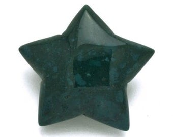 Magical Mystical 5 Pointed Star Moss Agate Hand Carved Gemstone