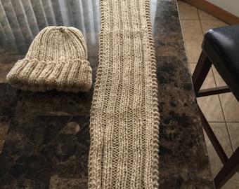 Buff beige children hat and scarf