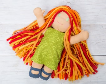 Girl Waldorf Doll, Natural Fiber Doll, Waldorf girl doll, Plush Doll, Waldorf Toddler, Steiner Doll, Natural Toys, Montessori, Waldorf doll