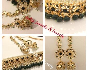 Indian / Pakistani jadu Jewellery Necklace Earring Bridal Hyderabadi Choker Jhumka gold plated