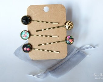 Hair slides Vintage style brass with cabochon Flamingo/hawaian ibiscus/Leopard/cherry/black diamond