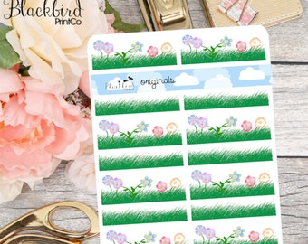 Grass and Flowers - Hand Drawn Planner Stickers [DR0004]
