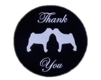 Kissing Pug Dog Round Thank You Self Adhesive Glossy Labels Envelope Seals Sticker Wedding Favors
