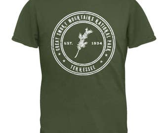 Great Smoky Mountains National Park Military Green Adult T-Shirt