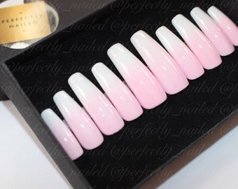 Baby pink to white ombre/gradient • Handpainted False Nails • Fake Nails • Press on Nails • Stick on Nails