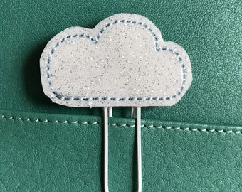 "Sweet little Feltie - Paperclip, Bookmark ""Cloud"", glittering"