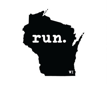 Run WI State Outline Magnet