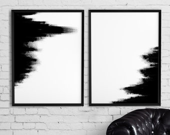 Abstract art, Printable set of 2 abstract paintings, Abstract print, Black and white, Office wall art, Modern home prints
