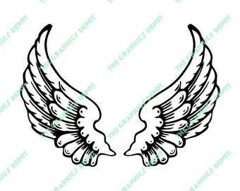 Angel Wings - SVG file, DXF file, EPS file, png file - Instant Download - Cricut Explorer - Silhouette Cameo