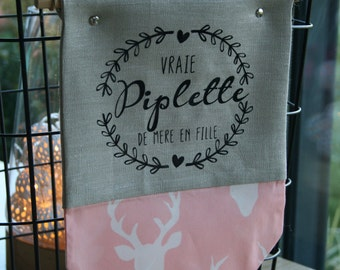 Banner fabric to hang with message for children's room, pastel pink tissue with deer and silver-flax