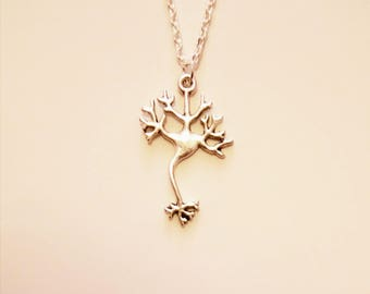 Brain Neuron Necklace. Silver Plated. 20 Inch Approximate Length.