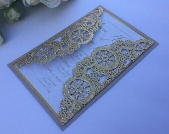 Gold doily wedding invitation, gold doily invitation, mettalic doliy invitation