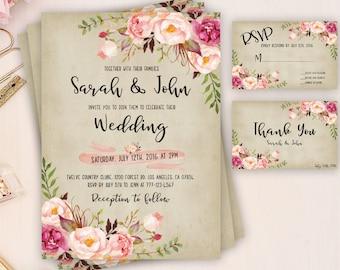 Wedding Invitation, Boho Chic Invitation, Printable Wedding Invitation,  Rustic Wedding Invitation, Wedding