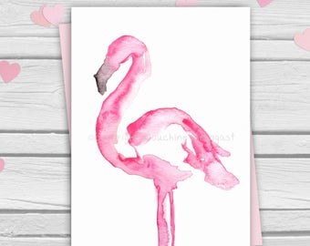 Postcard - Pink flamingo