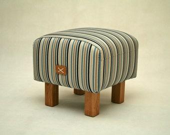 Small ottoman, Upholstered ottoman, Bench, Upholstered bench, Stool, Stripes Footstool, Pouf, Furniture, Oak legs, mySAMshop
