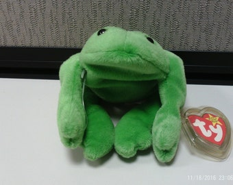 Ty Beanie Baby Legs the Frog, free U.S. Shipping, No Star or Stamp on Tush Tag!