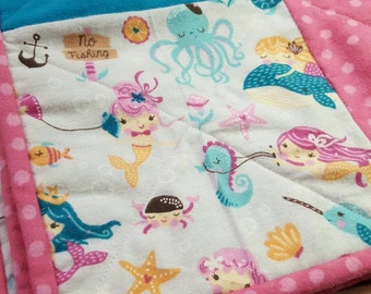 Mermaid Baby Quilt, Baby Girl Quilt, Patchwork Baby Quilt, Mermaid Crib Bedding, Pink Crib Bedding, Mermaid Nursery, Flannel baby Quilt