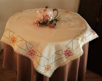 Vintage Luncheon Tablecloth Light Creamy Beige Lace Edge,  Cross Stitch Embroidered Table Topper, Cottage Chic Small Tablecloth