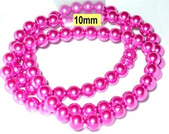 1 strand 82cm = 86 glass pearl beads 10 mm lilac metallic (810.20.1)