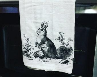 Vintage Rabbit Easter Spring Bunny Hare Dish Towel Flour Sack Tea Towel