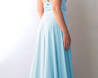 Convertible/Infinity Dress - floor length with long straps in pool water color wrap dress