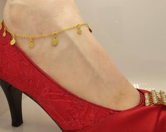 Gold Anklet, Silver Anklet, Gold Coin Anklet, Foot Jewelry, Foot Bracelet, Coin Anklet Bracelet, Beach Jewelry, Bohemian Anklet