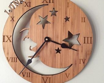 Custom Laser Etched Moon & Stars Clock