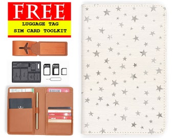 passport case RFID blocking classic leather travel wallet shinny silver star