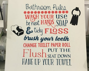 Bathroom rules canvas art quote