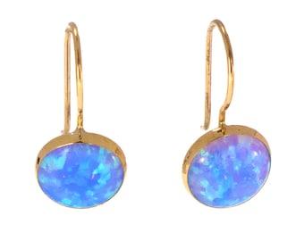 Opal Earrings, Real Gold Earrings, Blue Earrings, Opal Drop Earrings,Gold Drop Earrings, Blue Opal Earrings, 14k Gold Earrings, Gold Jewelry