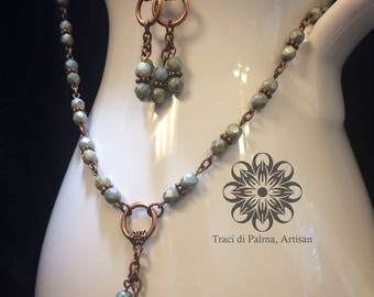 Mossy Green Czech Glass Beaded Chain and Earrings