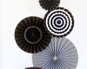 Black Party Fan Set / Black Fans / Party Fans / Paper Fans / Black Decor / Black Hanging Decorations
