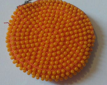 Cute Little True Vintage Orange Lumure Corde Bead Purse