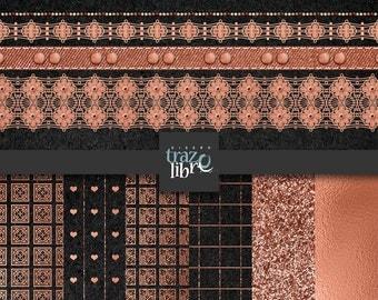 DIGITAL COPPER PAPER: Digital paper - digital clip art - digital clipart - copper paper - copper lace - digital copper - scrapbook paper