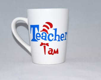 "Dr. Seuss inspired ""Teacher I Am"" 14 oz. Coffee Mug"