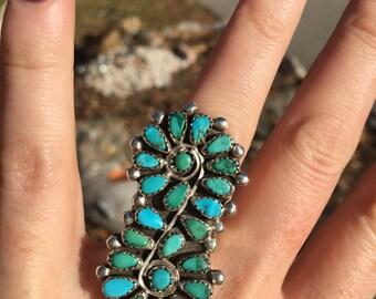 Vintage boho style Native American turquoise ring