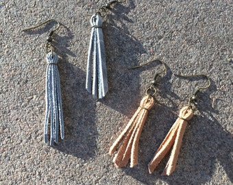 Genuine Suede Tassel Earrings