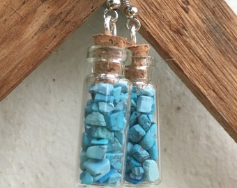 Tourquoise bottle earrings